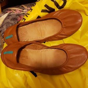 Tieks chestnut brown tan leather flats